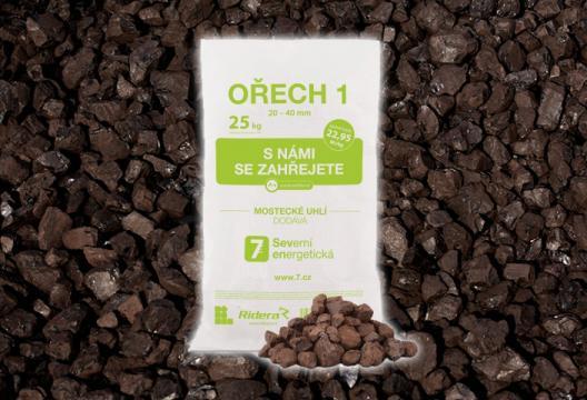 Pytlované hnědé mostecké uhlí, ořech 1, 25 kg